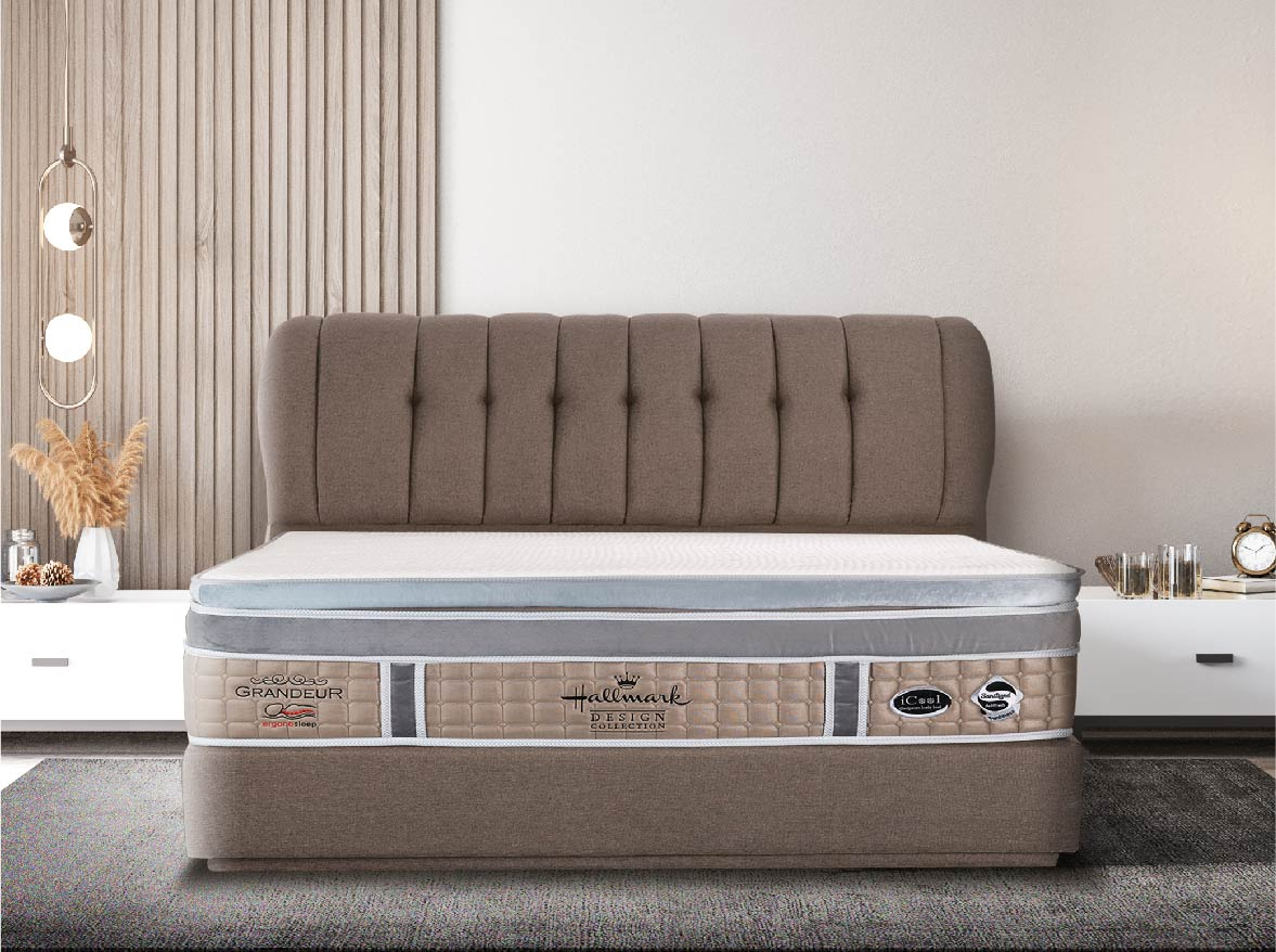 Hallmark Grandeur Mattress features the Ergonosleep system that easily allows you to configure your comfort zones in multiple ways at any time.