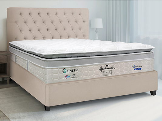 Hallmark Kinetic Mattress features Quad-Sprung system with thousands of tiny spring coils to spread more body support points